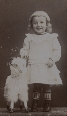 [Studio portrait of a young child posing with a small goat] ; Reboul, Madame; ca. 1870; 1994:0004:0001