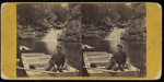 The Philosopher of the Pool [a stereograph of a man lounging in a small wooden boat, with a waterfall in the background.]; John P. Soule; ca. 1860; 1975:0025:0578