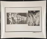 [Untitled, a chorus line of girls in cowboy hats and a man in a suit with dead minks]. ; Hill, Gary; c.a. 1975; 1975:0017:0002