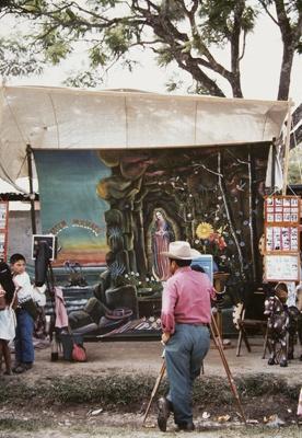Itinerant Photographer With Religious Backdrop, Huehuetenango, Guatemala; Parker, Ann; ca. 1973; 2009:0056:0026