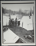 [Untitled, Four Civil War Re-anctor's stand in their encampment]. ; Hendee, Keith F.; 1981; 1981:0098:0005