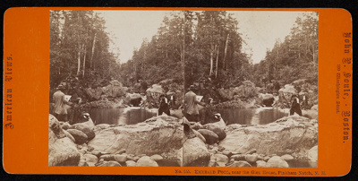 [a stereograph of a group of people posed around a natural pool]; John P. Soule; ca. 1860; 1975:0025:0557