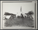 [Untitled, Civil War Re-enactor's sitting in front of a tent]. ; Hendee, Keith F.; 1981; 1981:0098:0001