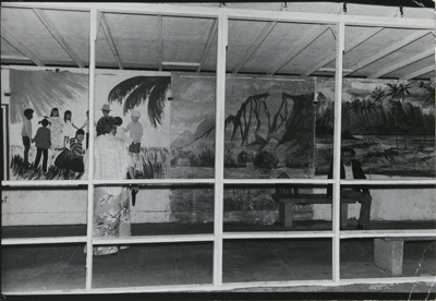 Untitled [Couple and murals]; Dane, Bill; ca. 1977; 2011:0014:0051