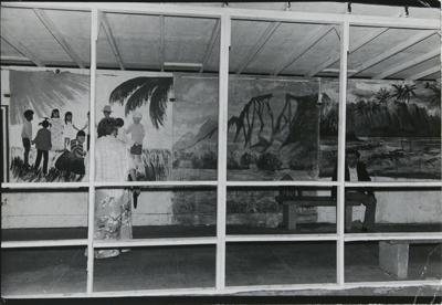 Untitled [Couple and murals]; Dane, Bill; ca. 1977; 2011:0014:0051