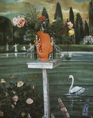 Detail of Angel Backdrop With Flowers In Plastic Swan Vase, Huehuetenango, Guatemala; Parker, Ann; ca. 1973; 2009:0056:0005