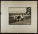[two oxen hitched to plow at edge of plowed field]; Hahn, Alta Ruth; ca.1930; 1982:0020:0018