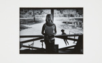[Woman on porch holding glasses]; Fichter, Robert; ca. 1967; 1971:0443:0001