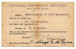 Authority Card, National Emergency Services NSW; 1939; 927