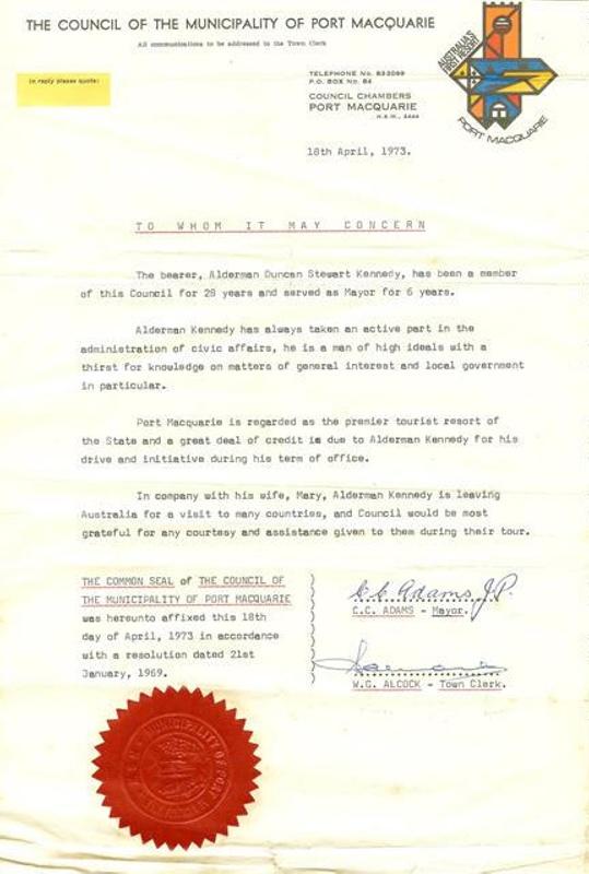 Letter of introduction alderman duncan stewart kennedy port letter of introduction alderman duncan stewart kennedy port macquarie municipa spiritdancerdesigns Images