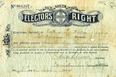 NSW Elector's Right issued to Emmeline Ann Everingham; W A Gullick; 1904; 2105