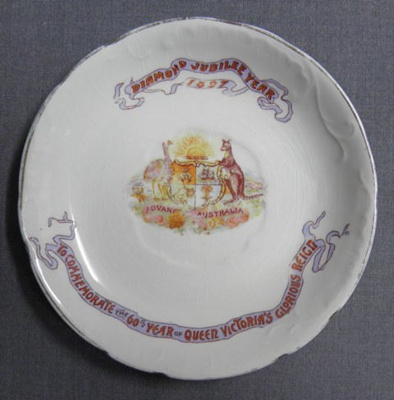 Commemorative Saucer, Diamond Jubilee Year; T.R. Boote; 1897; 30.96