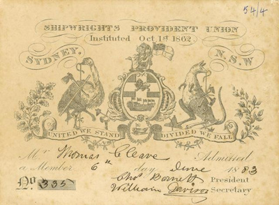 Shipwrights Union Card issued to Thomas Cleave; 1883; 2014.04