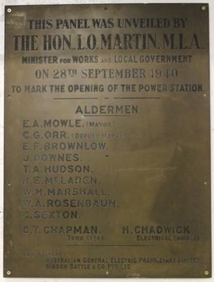 Commemorative Plaque, Port Macquarie Power Station; 1940; 1092