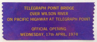 Commemorative Ribbon, Telegraph Point Bridge Opening; 1974 ; 5.96