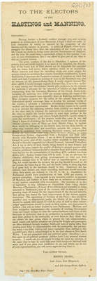 Letter to Electors of the Hastings and Manning; Charles Boyce; 1880; 630.2
