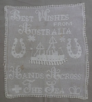 Tray Cloth, Best Wishes from Australia Hands Across the Sea; Margaret Lee; 1915; 5225a