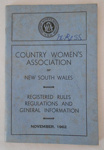 Booklet, Country Women's Association of NSW Rules and Regulations; 1962; 5358a