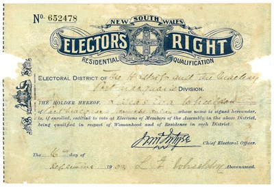 NSW Elector's Right issued to Lilias Eva Wheeldon; W A Gullick; 1903; 2018.20