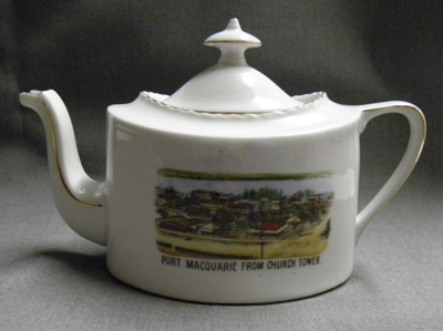 Souvenir Teapot, Port Macquarie from Church Tower; Victoria Czechoslovakia - Schmidt & Co.; 1918-1938; 2011.55