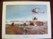 Painting print of Cera Bell helicopter unloading cargo to an Antarctica base camp.; TAM2012.1232