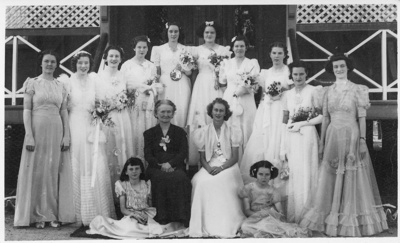 Group of debutantes and others on Convent steps, Hughenden, 1940; Unidentified; 1940; 2011-385