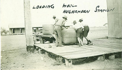Men loading wool onto truck, Hughenden Station 1925; Unidentified; 1925; 2012-66