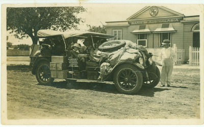 Mail car loaded with mail and passengers, Hughenden 1930s; Unidentified; 1930s; 2012-131