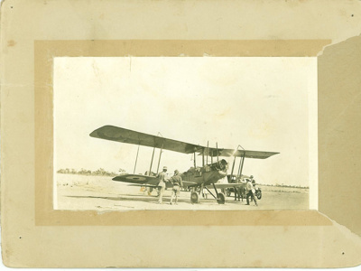 First aeroplane to land at Hughenden airport, 1930s?; Unidentified; 1930s?; 2012-84