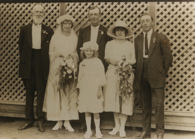 Wedding photo of Fred & Jane Frost at Prairie Hotel; Unidentified; 1922; 2011-441