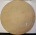A round wooden breadboard.Visible signs of use and minor discolouration to wood.; 1860-1900; HOU1/14