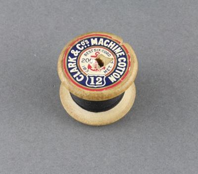 Sewing thread on spool, black cotton; Clark & Co.; 1950-1960; MT2012.105.5