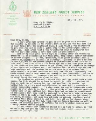 Letter; dated 23 December 1957 from J. Johnston, S...