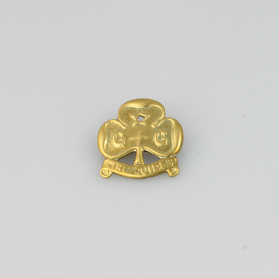 Badge; Girl Guides Trefoil which belonged to Jean ...
