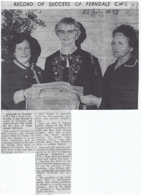 Newspaper article, Ferndale Country Women's Institute; The Ensign (Gore and Districts); 22.07.1972; MT2012.14.7