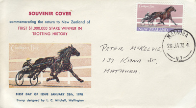 First Day Cover, Cardigan Bay.; N.Z.Government Printing Office; 28.1.1970; MT2012.100