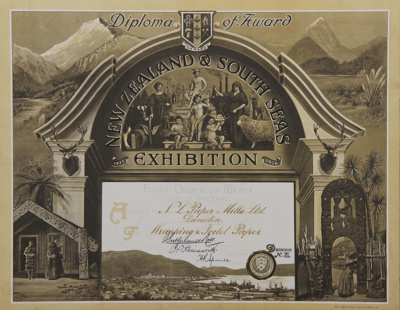 Award; a Diploma awarded to the New Zealand Paper ...