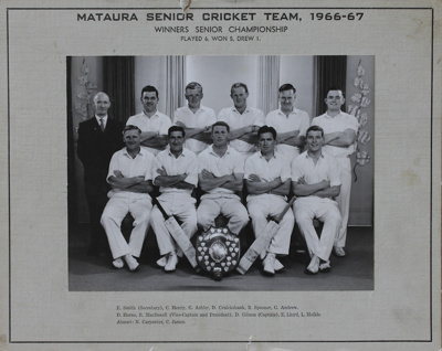 Photograph [Mataura Cricket Club, Senior Grade, 1966-67]; unknown photographer; 1966-1967; MT2011.185.488