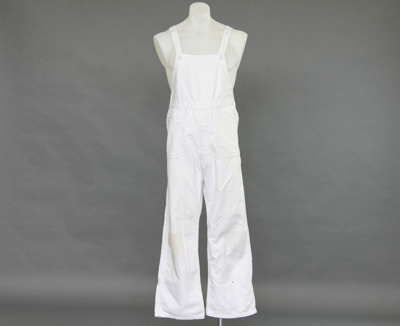 Overalls; white cotton men's overalls as worn by M...