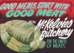 Advertising sign, McKelvies' Butchery; unknown maker; 1965-1975; MT2013.26.8