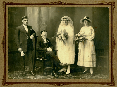 A black and white wedding portrait of Albert James...