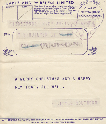 Telegram; dated December 1942 from Clara Quilter t...