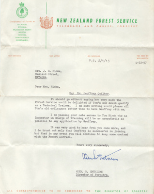 Letter; dated 4 December 1957 from Alexander (Alex...