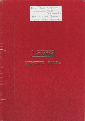 Minute Book, Red Cross, Mataura Sub-branch; Club members (various); 1978-1990; MT2012.165.5