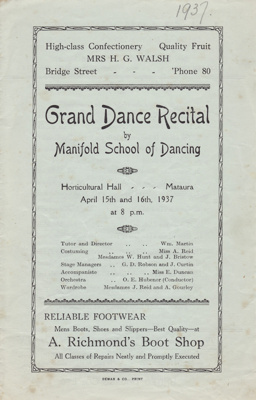 Programme; Grand Dance Recital in April 1937 by th...