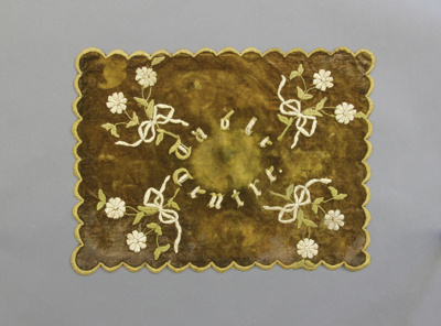 Table centre; rectangular brown velvet table centr...