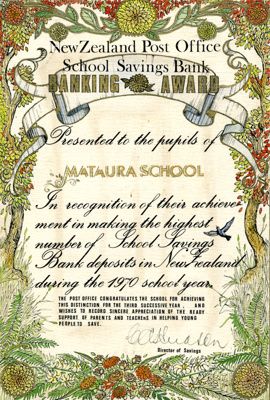 Certificate [Mataura School, Post Office Savings Bank Award, 1970]; unknown maker; 1970; MT2011.185.445.2
