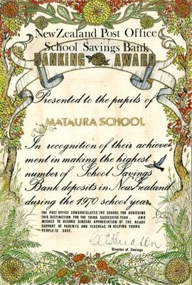 Certificate [Mataura School, Post Office Savings Bank Award, 1970]; unknown maker; 1970; MT2011.185.445.2
