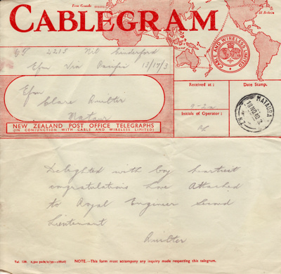 Telegram; dated 18 November 1940 from Clara Quilte...