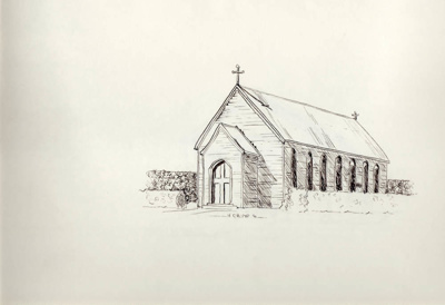 Sketches; 4 ink sketches of early Mataura churches...